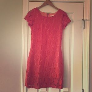 Fitted lace coral colored dress!